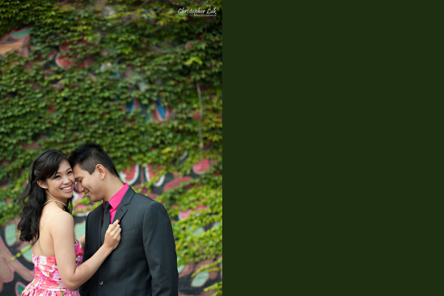 Christopher Luk 2014 - Shauna and Charles' Engagement Session - Liberty Village Toronto Wedding Event Photographer - Bride and Groom Natural Candid Photojournalistic Happy Smile Laugh Vine Mural Design Graffiti Wall