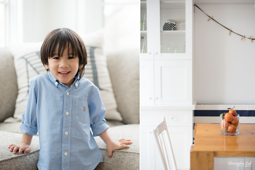 Christopher Luk 2015 - Toronto Family Toddler Winter Spring Indoor Home Session - Toddler Son Boy Smile Laugh Blue Shirt Fashion White Kitchen Bench Chairs Table Orange Vase Detail