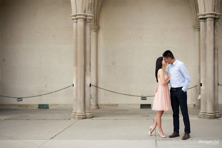 Christopher Luk Engagement Session 2015 - Jaynelle and Ernest - University of Toronto Hart House College Royal Ontario Museum - Bride Groom Memorial Pink Cocktail Dress Blue Pants Shirt Hug Kiss