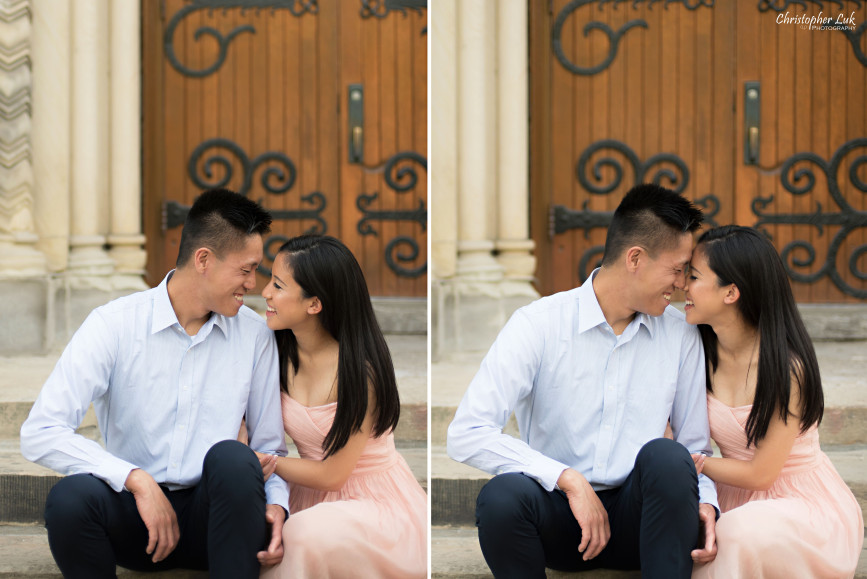 Christopher Luk Engagement Session 2015 - Jaynelle and Ernest - University of Toronto Hart House College Royal Ontario Museum - Bride Groom Cute Fun Laugh Smile Photojournalistic Candid Sitting Wooden Doors