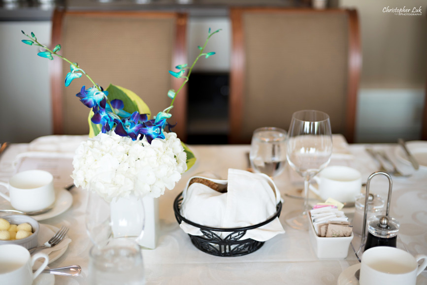 Christopher Luk 2015 - Bridal Shower at The Bayview Golf and Country Club Wedding Engagement Bride Bridesmaids Family Friends Candid Photojournalistic Natural Flowers Floral Arrangement Centrepiece White Hydrangeas Blue Orchids Square Vase Detail