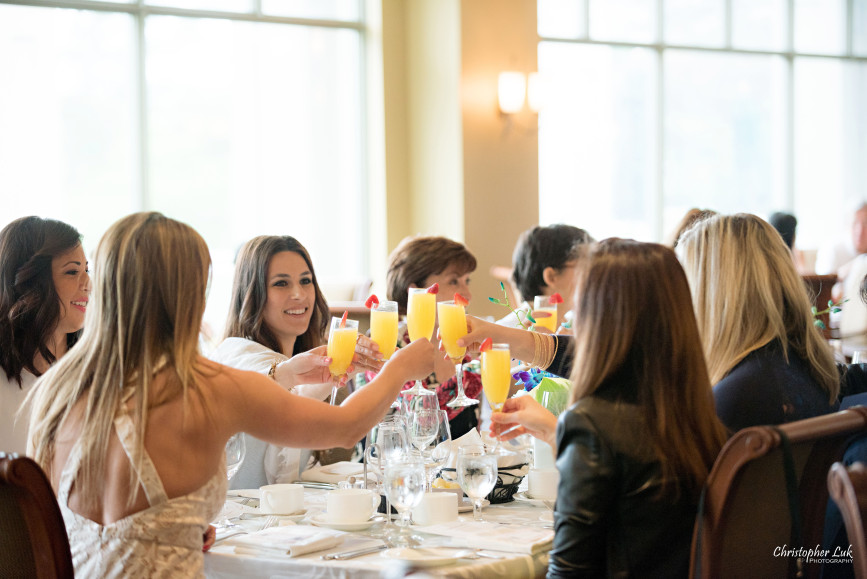 Christopher Luk 2015 - Bridal Shower at The Bayview Golf and Country Club Wedding Engagement Bride Bridesmaids Family Friends Candid Photojournalistic Cheers Toast Toasting Clink Glasses Mimosas