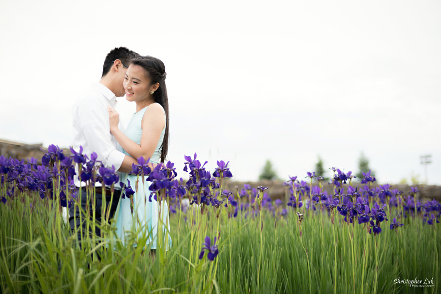 Christopher Luk Engagement Session 2015 - Ying Ying and Alvin - Richmond Hill Green Park Markham York Region - Bride Groom Relaxed Creative Portrait Candid Natural Photojournalistic Hug Smile Laugh Purple Flowers