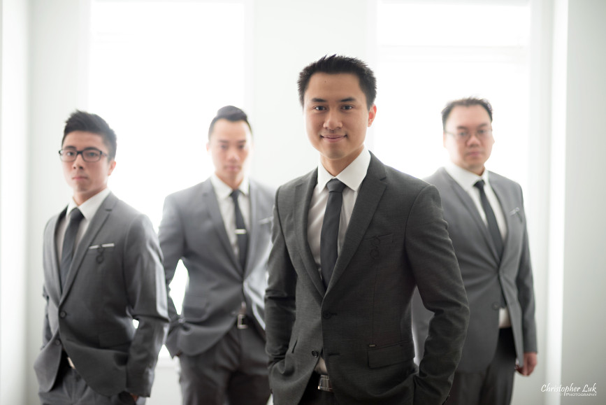 Christopher Luk 2015 - Karen and Scott's Wedding - Miller Lash House University Toronto Scarborough UTSC Outdoor Summer Ceremony Reception - Groom Photojournalistic Candid Natural Relaxed Groomsmen Cool Posed Album Cover