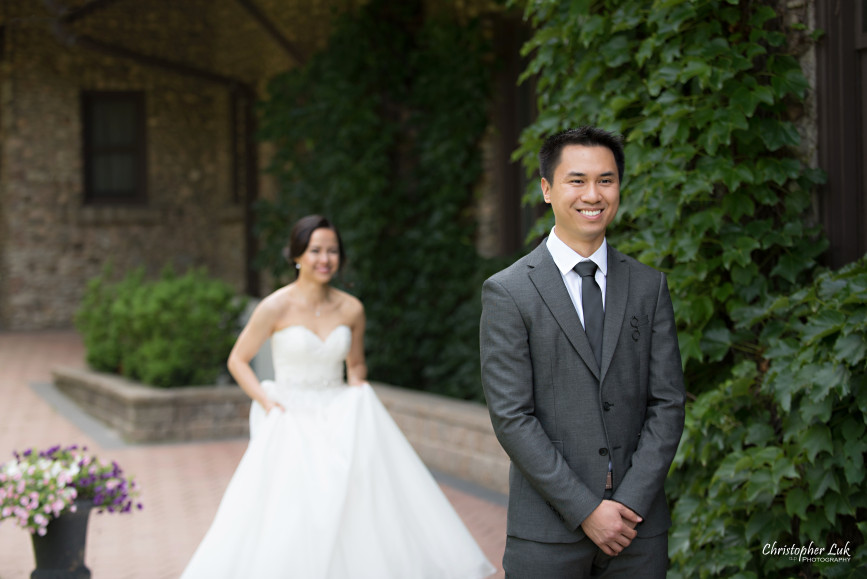 Christopher Luk 2015 - Karen and Scott's Wedding - Miller Lash House University Toronto Scarborough UTSC Outdoor Summer Ceremony Reception - Bride Groom Photojournalistic Candid Natural Relaxed First Look Reveal Smile Anticipation