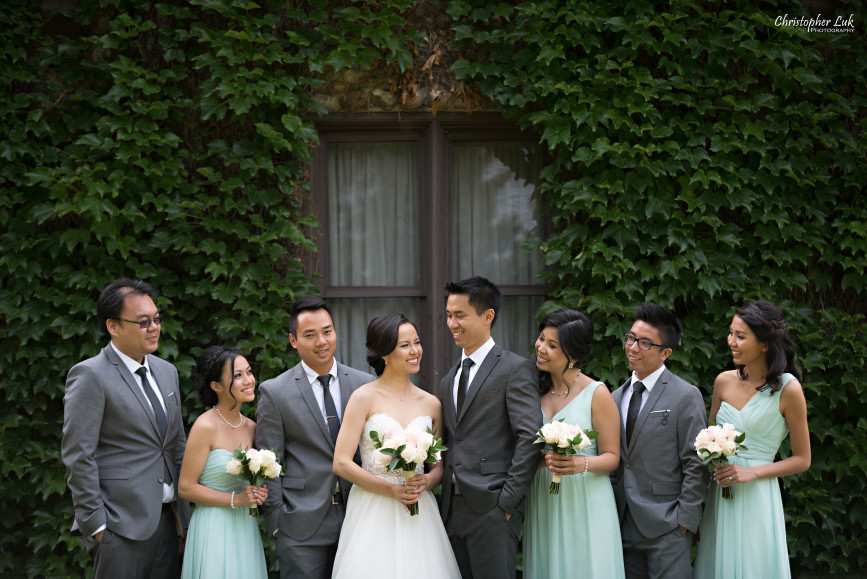 Christopher Luk 2015 - Karen and Scott's Wedding - Miller Lash House University Toronto Scarborough UTSC Outdoor Summer Ceremony Reception - Bride Groom Photojournalistic Candid Natural Relaxed Hug Green Vine Wall Happy Smile Bridal Party