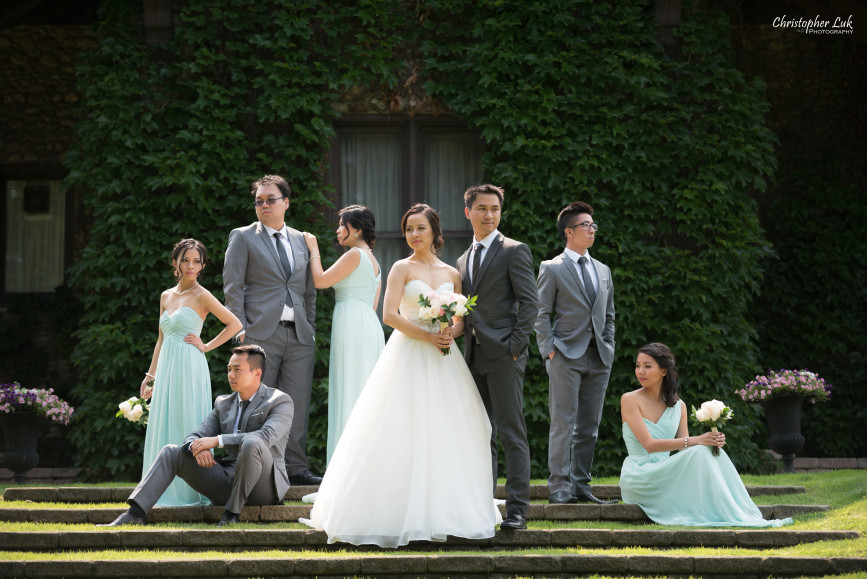 Christopher Luk 2015 - Karen and Scott's Wedding - Miller Lash House University Toronto Scarborough UTSC Outdoor Summer Ceremony Reception - Bride Groom Photojournalistic Candid Natural Relaxed Hug Green Vine Wall Bridal Party Vogue Vanity Fair Hollywood Reporter Posed Group
