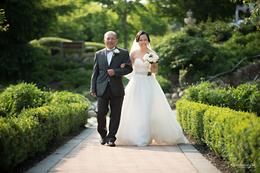 Christopher Luk 2015 - Karen and Scott's Wedding - Miller Lash House University Toronto Scarborough UTSC Outdoor Summer Ceremony Reception - Bride Photojournalistic Candid Natural Relaxed Father Walking Down Aisle