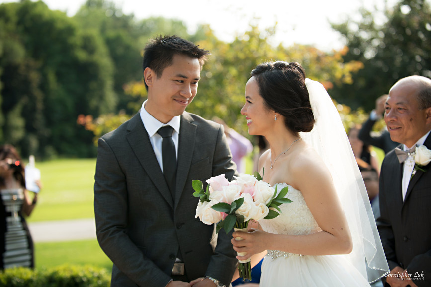 Christopher Luk 2015 - Karen and Scott's Wedding - Miller Lash House University Toronto Scarborough UTSC Outdoor Summer Ceremony Reception - Bride Photojournalistic Candid Natural Relaxed Father Groom Meet at Altar