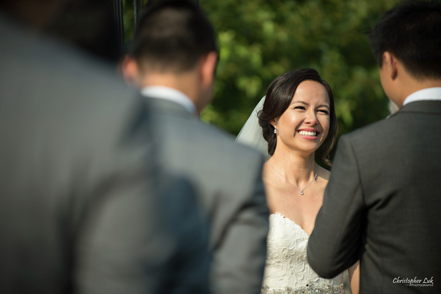 Christopher Luk 2015 - Karen and Scott's Wedding - Miller Lash House University Toronto Scarborough UTSC Outdoor Summer Ceremony Reception - Bride Photojournalistic Candid Natural Relaxed Smile Laugh Vows
