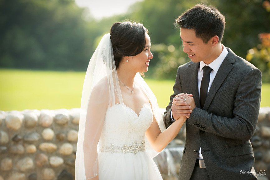 Christopher Luk 2015 - Karen and Scott's Wedding - Miller Lash House University Toronto Scarborough UTSC Outdoor Summer Ceremony Reception - Bride Groom Photojournalistic Candid Natural Relaxed Smile Intimate Moment Holding Hands Married