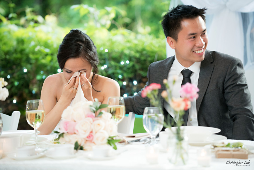 Christopher Luk 2015 - Karen and Scott's Wedding - Miller Lash House University Toronto Scarborough UTSC Outdoor Summer Ceremony Reception - Bride Groom Photojournalistic Candid Natural Relaxed Speeches Reaction Laugh Cry Emotions