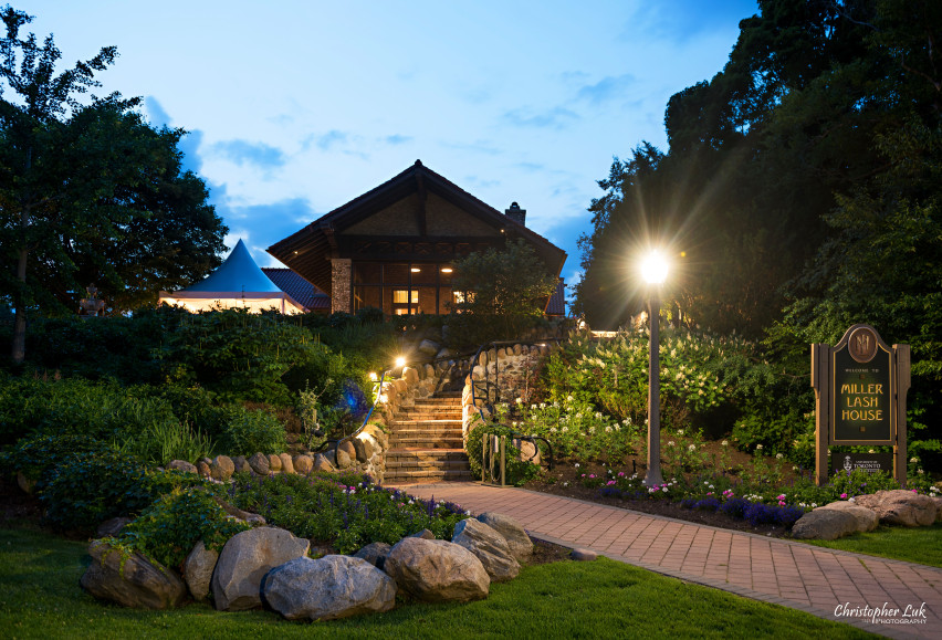 Christopher Luk 2015 - Karen and Scott's Wedding - Miller Lash House University Toronto Scarborough UTSC Outdoor Summer Ceremony Reception - Venue Night Time Nighttime Evening Sunset Garden Estate Front Facade Staircase