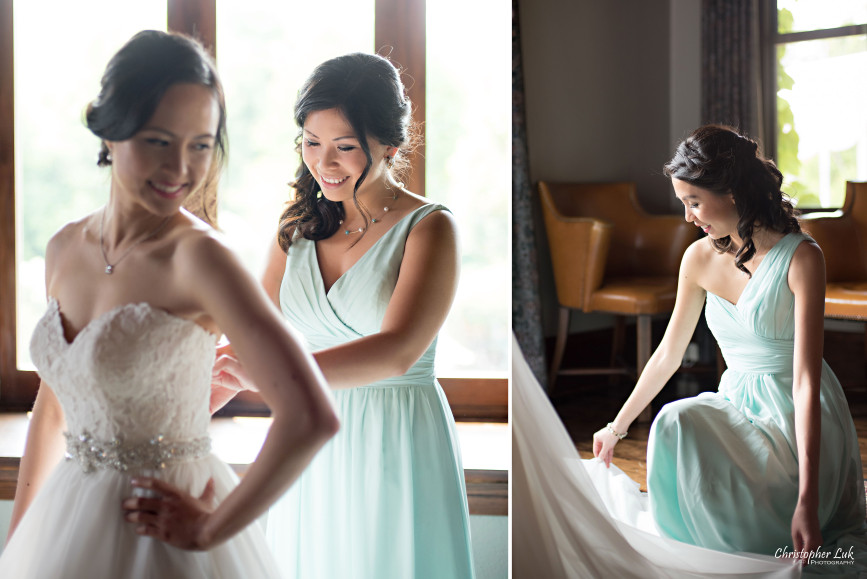 Christopher Luk 2015 - Karen and Scott's Wedding - Miller Lash House University Toronto Scarborough UTSC Outdoor Summer Ceremony Reception - Bride Photojournalistic Candid Natural Relaxed Maid of Honour Bridesmaid Fairy Baby Blue Dress Getting Ready