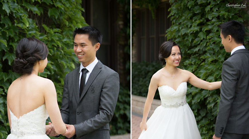 Christopher Luk 2015 - Karen and Scott's Wedding - Miller Lash House University Toronto Scarborough UTSC Outdoor Summer Ceremony Reception - Bride Groom Photojournalistic Candid Natural Relaxed First Look Reveal Smile Reaction