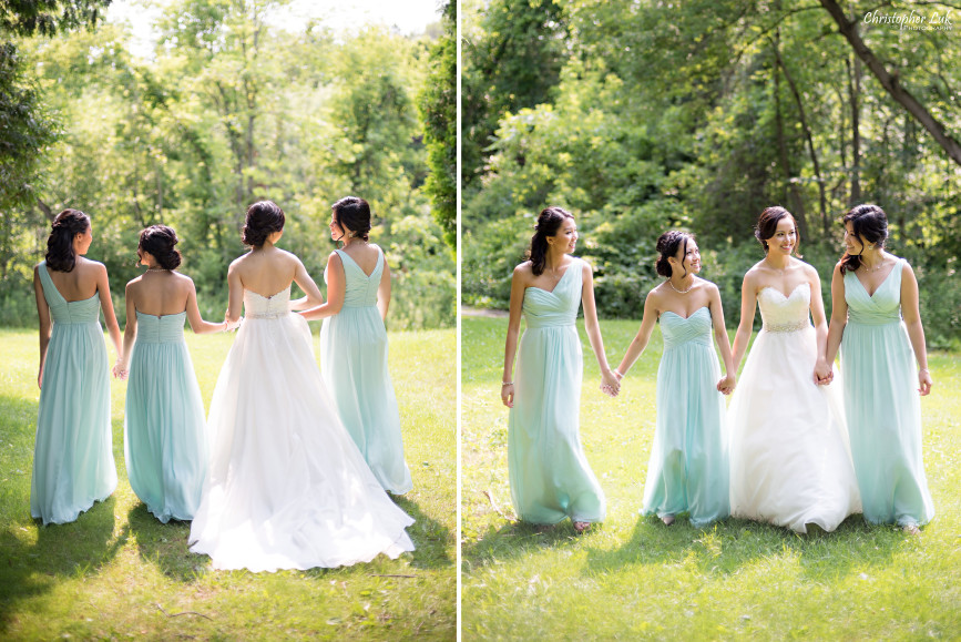 Christopher Luk 2015 - Karen and Scott's Wedding - Miller Lash House University Toronto Scarborough UTSC Outdoor Summer Ceremony Reception - Bride Photojournalistic Candid Natural Relaxed Maid of Honour Bridesmaid Fairy Baby Blue Dress Walking