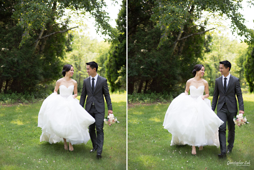 Christopher Luk 2015 - Karen and Scott's Wedding - Miller Lash House University Toronto Scarborough UTSC Outdoor Summer Ceremony Reception - Bride Groom Photojournalistic Candid Natural Relaxed Walking Forest Bouquet