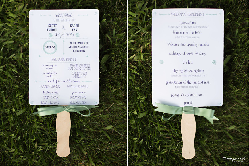 Christopher Luk 2015 - Karen and Scott's Wedding - Miller Lash House University Toronto Scarborough UTSC Outdoor Summer Ceremony Reception - Program Paper Fan Design Stationary Stationery Green Ribbon