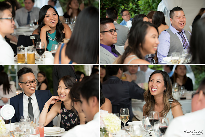 Christopher Luk 2015 - Karen and Scott's Wedding - Miller Lash House University Toronto Scarborough UTSC Outdoor Summer Ceremony Reception - Photojournalistic Candid Natural Relaxed Guests Friends Laughing Interacting Mingling