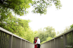 Christopher Luk 2015 - Annie & Jason's Engagement Session Main Street Unionville TooGood Pond - Bride Groom Fiancé Fiancée Smile Candid Photojournalistic Relaxed Natural Posed Red Dress Steel Concrete Bridge Railing Leading Lines