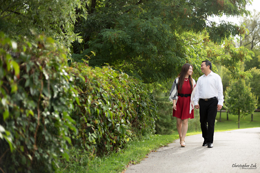 Christopher Luk 2015 - Annie & Jason's Engagement Session Main Street Unionville TooGood Pond - Bride Groom Fiancé Fiancée Smile Candid Photojournalistic Relaxed Natural Posed Red Dress Green Vines Leaves Walking