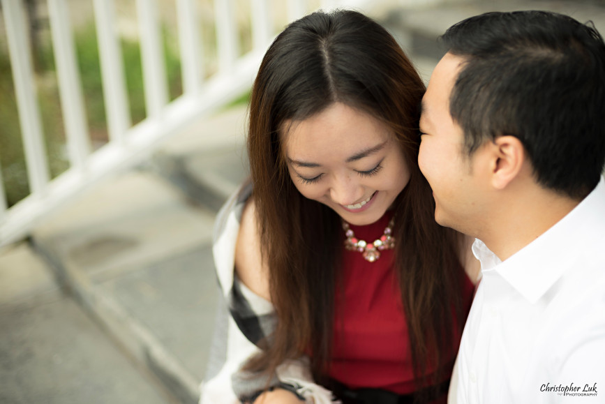 Christopher Luk 2015 - Annie & Jason's Engagement Session Main Street Unionville TooGood Pond - Bride Groom Fiancé Fiancée Hug Smile Granite Slate Stone Steps Candid Photojournalistic Relaxed Natural Posed Laugh