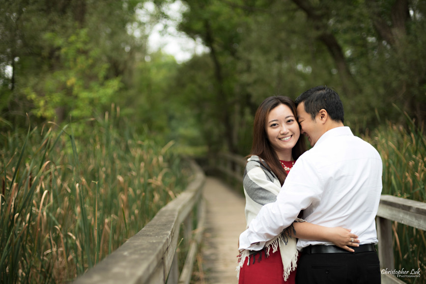 Christopher Luk 2015 - Annie & Jason's Engagement Session Main Street Unionville TooGood Pond - Bride Groom Fiancé Fiancée Wooden Bridge Marsh Tall Grass Hug Smile