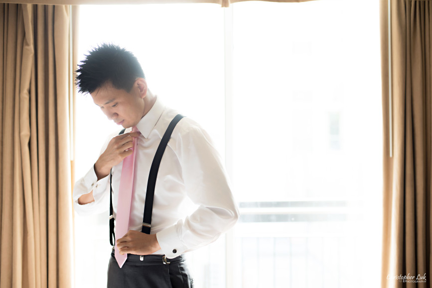 Christopher Luk 2015 - Shauna & Charles Wedding - Groom Getting Ready Pink Tie