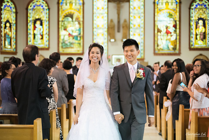 Christopher Luk 2015 - Shauna & Charles Wedding - Bride Groom Church Ceremony Recessional Aisle Smile