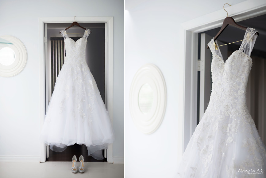 Christopher Luk 2015 - Shauna & Charles Wedding - Bride White Wedding Dress Gown Hanging Shoes Detail