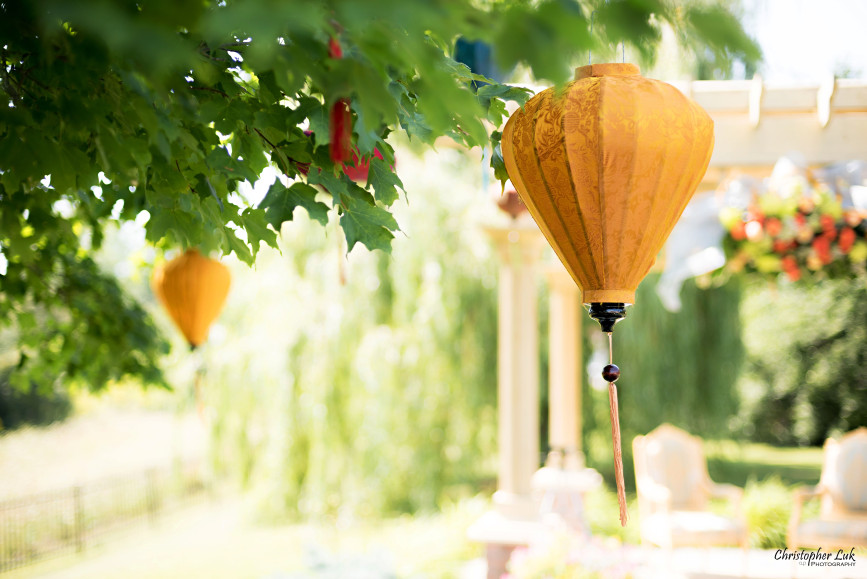 Christopher Luk 2015 - Vannessa and Daniel's Brampton Summer Outdoor Backyard Tea Ceremony Family Wedding Engagement Party Celebration - Hanging Lanterns Trees Yellow Red Blue Paper