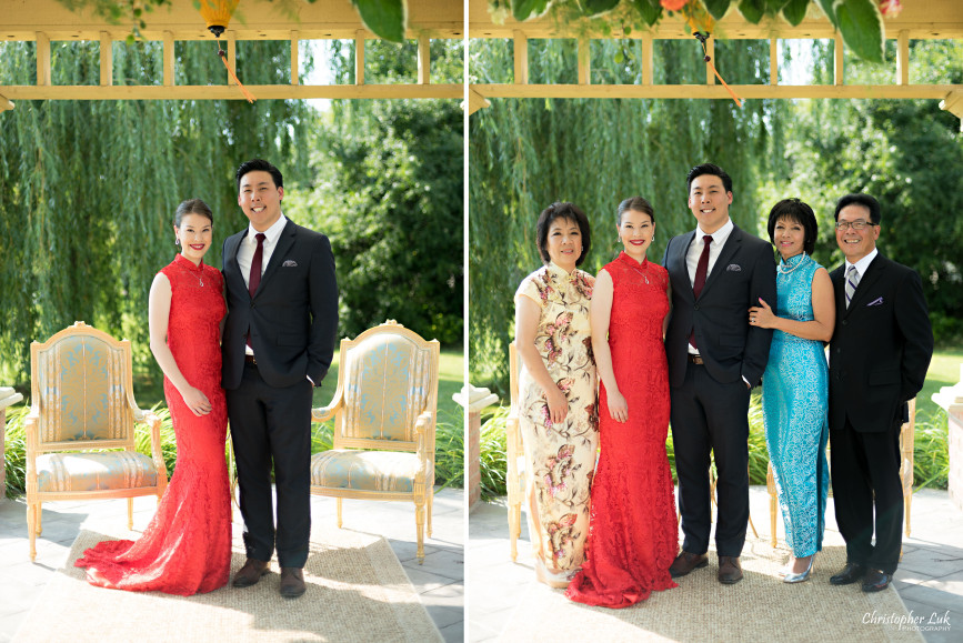 Christopher Luk 2015 - Vannessa and Daniel's Brampton Summer Outdoor Backyard Tea Ceremony Family Wedding Engagement Party Celebration - Bride Groom Navy Blue Suit Asian Red Dress Parents Father Mother Formal Portraits