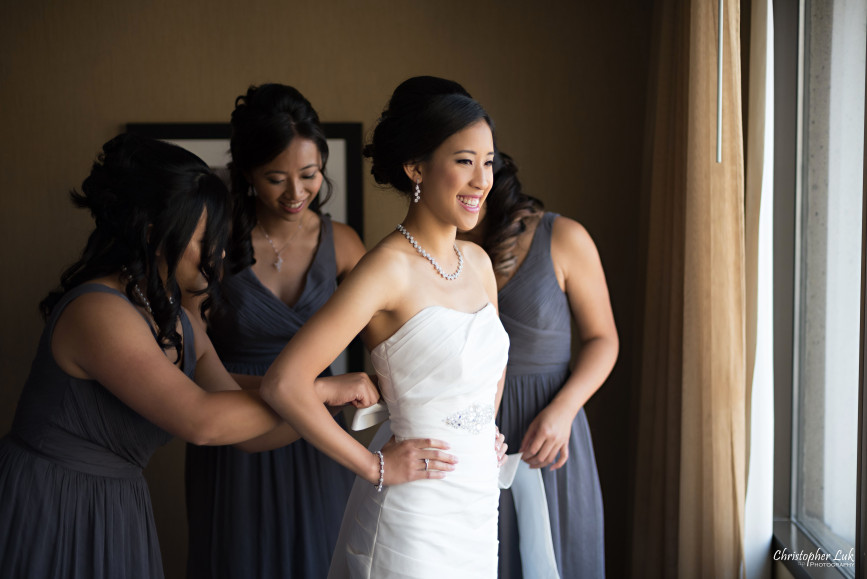 Christopher Luk 2015 - Jaynelle and Ernest's Wedding - Toronto Chinese Baptist Church Osgoode Hall Argonaut Rowing Club Henley Room Waterfront Venue - Photojournalistic Natural Candid Smile Bride Getting Ready Crystal White Gold Necklace Bridesmaids Maid Matron of Honour White Bridal Dress Gown