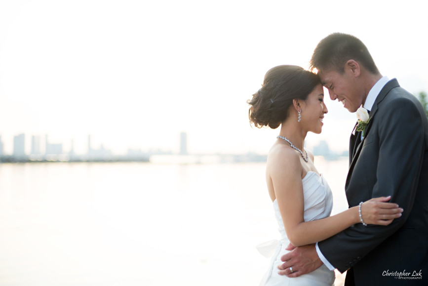 Christopher Luk 2015 - Jaynelle and Ernest's Wedding - Toronto Chinese Baptist Church Osgoode Hall Argonaut Rowing Club Henley Room Waterfront Venue - Bride Groom Creative Relaxed Portrait Session Photojournalistic Natural Candid Posed Lakefront Scenic Warm Hug