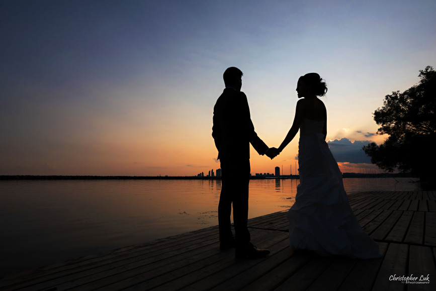 Christopher Luk 2015 - Jaynelle and Ernest's Wedding - Toronto Chinese Baptist Church Osgoode Hall Argonaut Rowing Club Henley Room Waterfront Venue - Bride Groom Creative Relaxed Portrait Session Photojournalistic Natural Candid Posed Lakefront Scenic Warm Intense Sunset Colours Silhouette