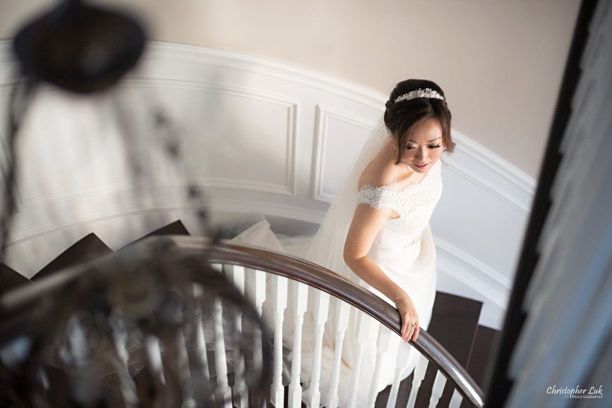 Angus Glen Golf Club Autumn Fall Markham Wedding - Bride Getting Ready Photojournalistic Natural Candid Posed Walking Down Curved Chandelier Grand Staircase
