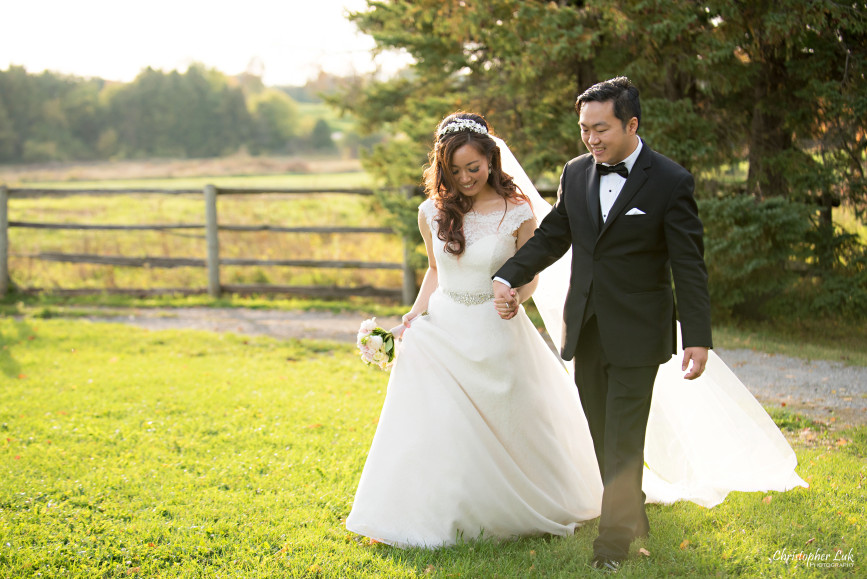 Angus Glen Golf Club Autumn Fall Markham Wedding - Bride Groom Creative Relaxed Portrait Session Photojournalistic Natural Candid Posed Sunset Golden Hour Kleinfeld White Bridal Gown Dress Walking Together Smile
