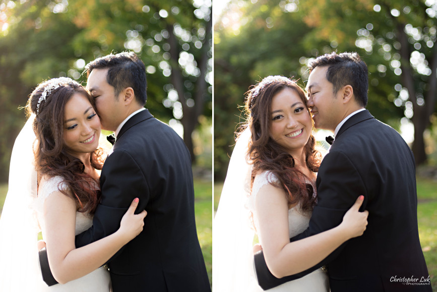 Angus Glen Golf Club Autumn Fall Markham Wedding - Bride Groom Creative Relaxed Portrait Session Photojournalistic Natural Candid Posed Sunset Golden Hour Kleinfeld White Bridal Gown Hug Kiss Smile