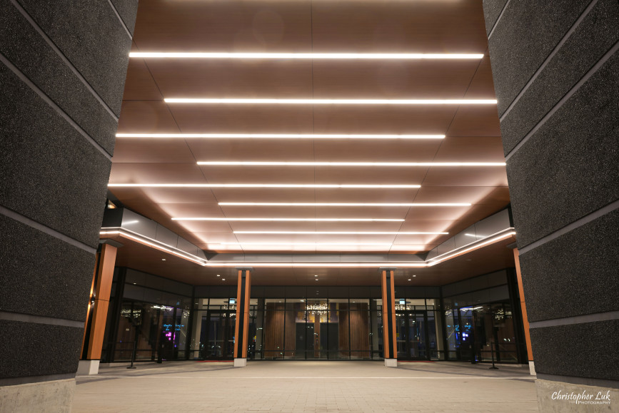 Fall Autumn Wedding Universal EventSpace ByPeterAndPauls Event Venue Exterior Building Wide Front Entrance Ceiling Line LED Lights