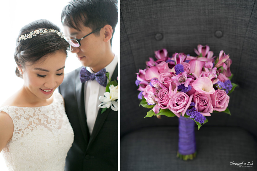 Fall Autumn Wedding Bride Groom Floral Bouquet Purple Ribbon Pink Roses Calla Lillies Daisies