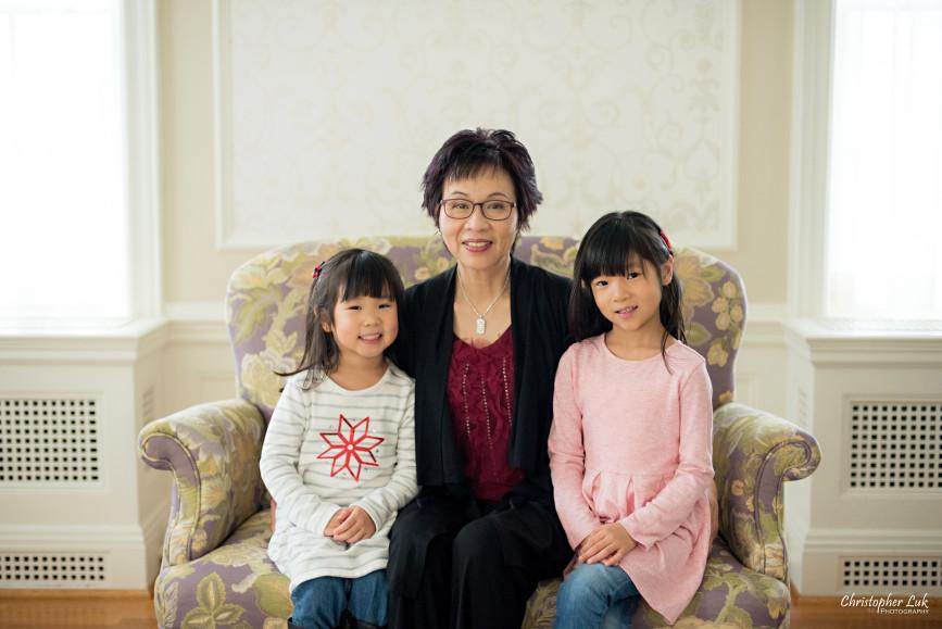 Toronto Markham Family Children Photographer - Grandma Grandmother Grand Daughters Grandchildren Red Black Pink White Grey Casual