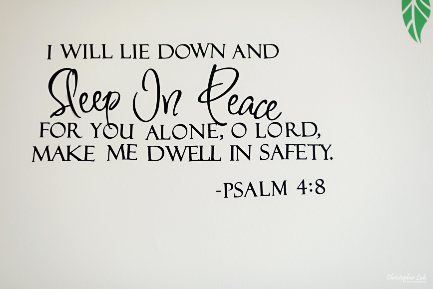 Baby Room Decorations Wall Decals Stickers Psalm Psalms Bible Verse Quote Lie Down Sleep in Peace Dwell in Safety