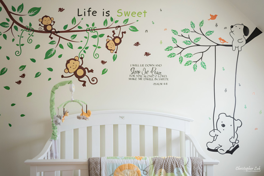 Baby Room Decorations Wall Decals Stickers Monkey Tree Swing Swinging Bear Life is Sweet Psalm Psalms Bible Verse Quote White Crib Lion Animal Blanket