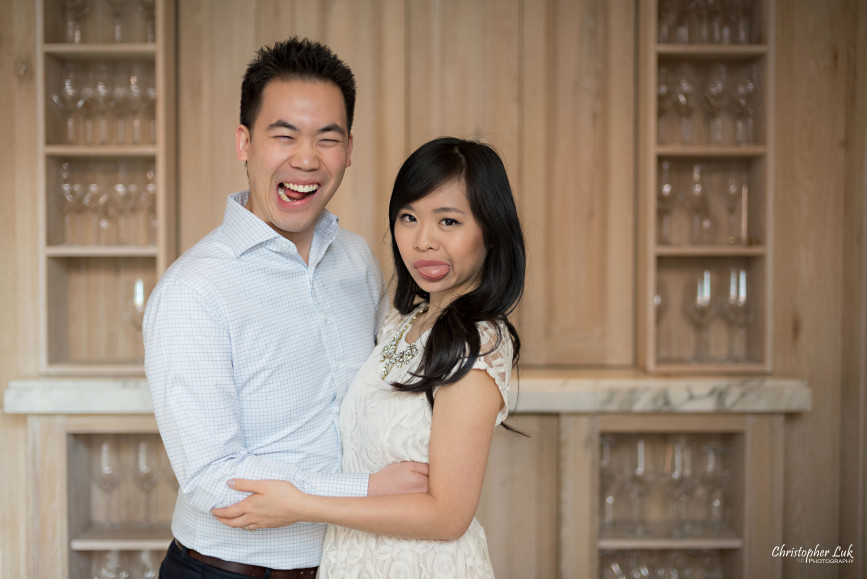 Christopher Luk Toronto Wedding Portrait Event Photographer Distillery District Cluny Bistro Boulangerie Restaurant Engagement Session Bride Groom Candid Photojournalistic Natural Goofy Funny Faces