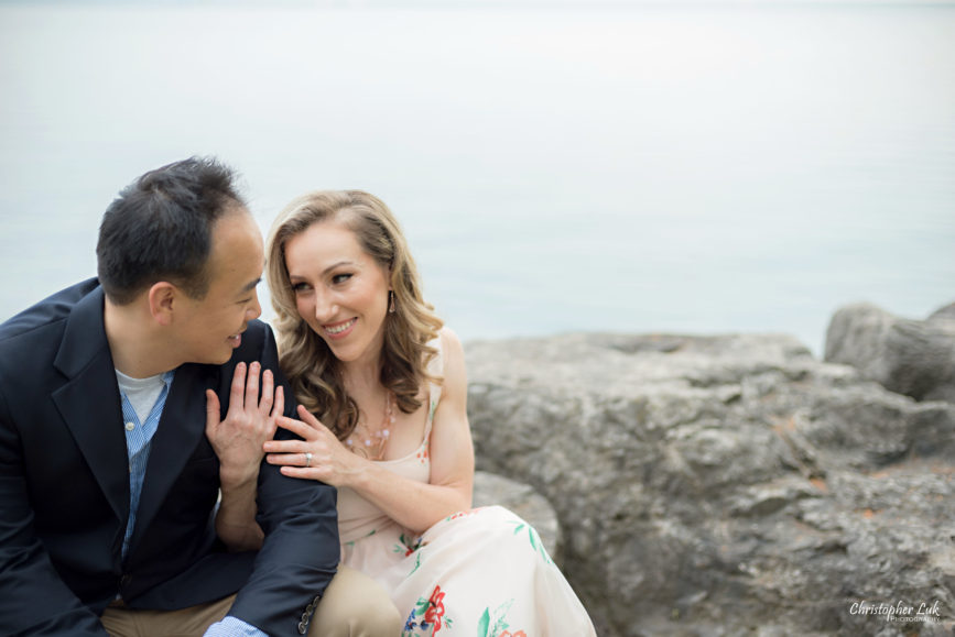 Christopher Luk (Toronto Wedding Portrait Event Photographer) - Photojournalistic Candid Natural Engagement Session Adamson Estate Royal Conservatory of Music Mississauga Bride Groom Lake Hug Smile