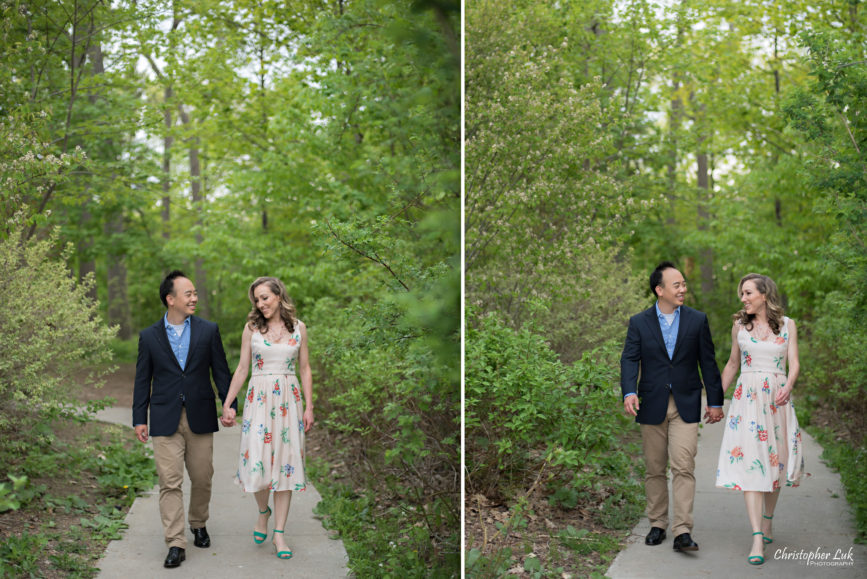 Christopher Luk (Toronto Wedding Portrait Event Photographer) - Photojournalistic Candid Natural Engagement Session Adamson Estate Royal Conservatory of Music Mississauga Bride Groom Forest Park Pathway Walking Smiling