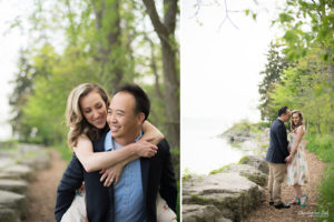 Christopher Luk (Toronto Wedding Portrait Event Photographer) - Photojournalistic Candid Natural Engagement Session Adamson Estate Royal Conservatory of Music Mississauga Bride Groom Waterfront Lake Ontario Piggyback Lakefront View