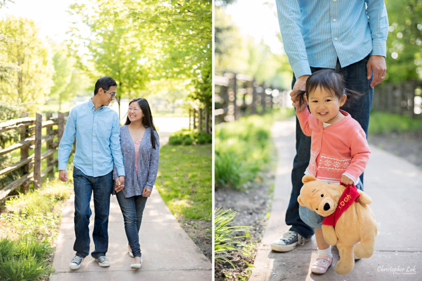 Christopher Luk (Toronto Wedding Portrait Event Photographer): Infant Toddler Children Parents Grandparents Family Pictures Photography Session Father Daddy Mother Mommy Daughter Baby Girl Holding Winnie the Pooh Stuffed Animal Toy Walking