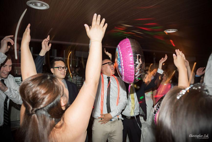 Christopher Luk (Toronto Wedding Photographer): Hilton Markham Hotel, North York Chinese Baptist Church, Evergreen Brickworks, Atlantis Pavilions - Party Dancing Glow Sticks LED Suspenders
