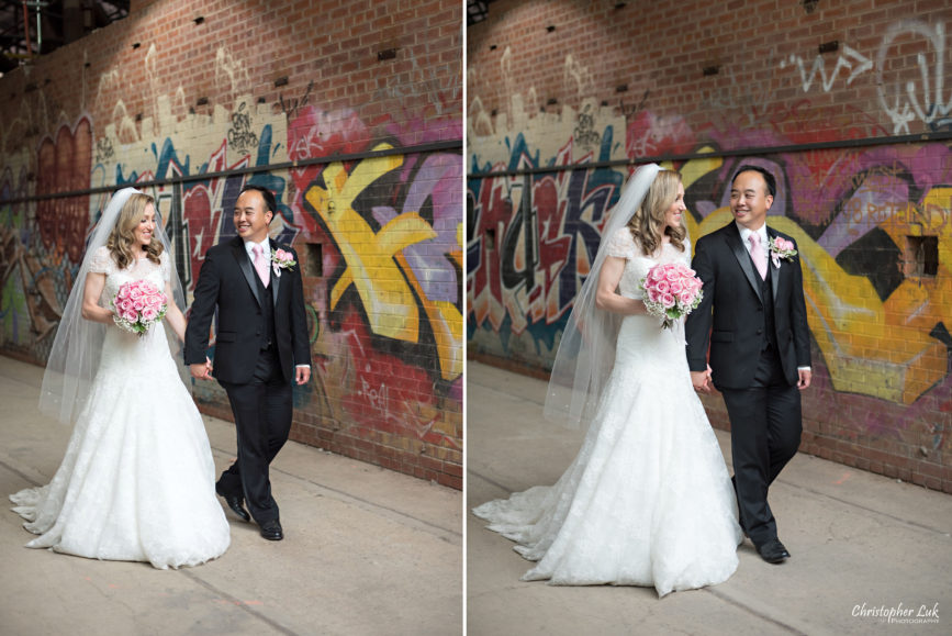 Christopher Luk (Toronto Wedding Photographer): Hilton Markham Hotel, North York Chinese Baptist Church, Evergreen Brickworks, Atlantis Pavilions - Creative Relaxed Portrait Session Natural Candid Photojournalistic Bride Groom Graffiti Red Brick Wall Walking Together